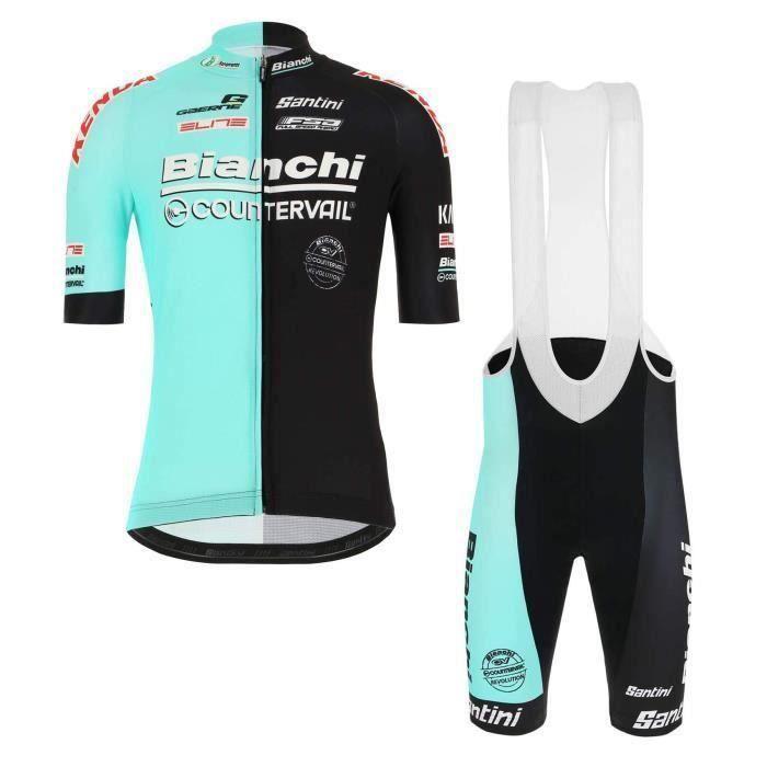 (Bianchi 2019)Maillot de Cyclisme Manches Courtes Homme + Cuissard Vélo à Bretelles GEL Ensemble de Vêtement Tour de France
