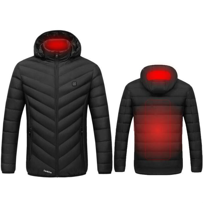 Dan&Dre Caban Blouson Veste femme-homme Chauffante Électrique USB de randonnée de ski en plein air-noir