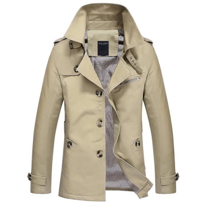 (KAKI)Trench-Coat pour hommes veste manteau Long hommes coupe Slim vêtements de marque coupe-vent Business