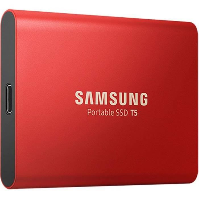 SAMSUNG Disque SSD Externe Portable T5 rouge 1 To MU-PA1T0R/EU - USB 3.1 Gen2 Type-C (10Gbps), 540MB/s Transfer, 2X Cables, Retail