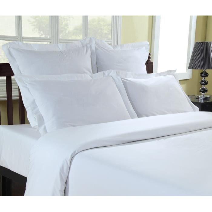 Housse de Couette Percale 80 fils/cm² Sensei - Sensei La Maison du Coton - Blanc - Taille : 140x200