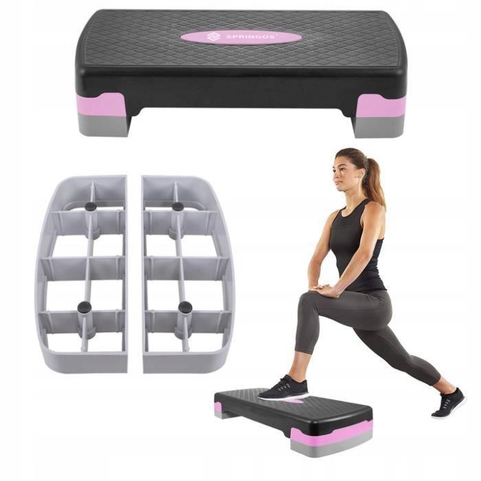 SPRINGOS® Aérobic Stepper, Réglable Stepper d'exercice, 2 niveaux de hauteur, antidérapant - Rose