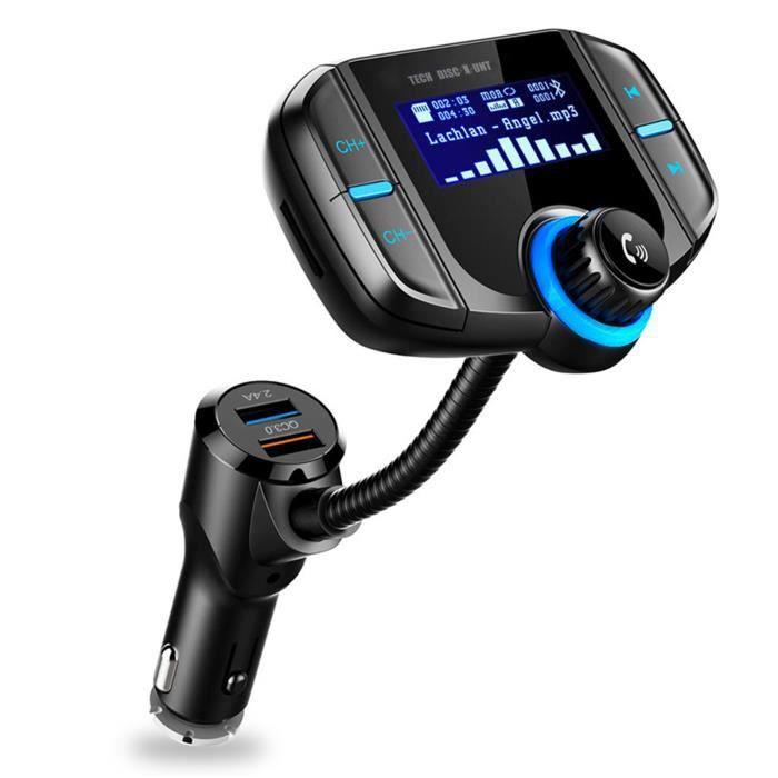 TD® KIT transmetteur FM Bluethooth USB charge rapide pour voiture - Accessoire auto double chargeur USB lecteur MP3, Radio, Carte SD