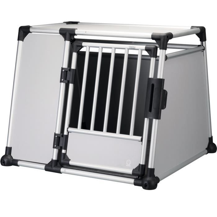 TRIXIE Box de transport - Aluminium - L et XL : 94 x 75 x 88 cm - Gris argent et gris clair - Pour chien