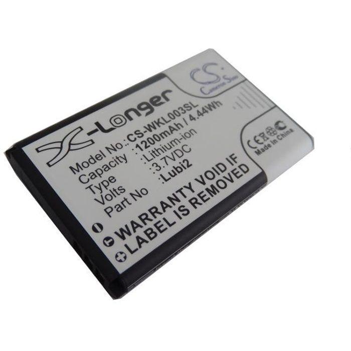 Batterie pour téléphone portable Wiko Lubi 2, Lubi2 - Remplace : Lubi2 - Technologie: Li-Ion - Capacité : 1200 mAh (3.7 V - 4.44 …