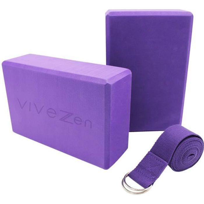 Lot de 2 briques de yoga 23 x 15 x 7,5 cm et sangle de yoga 183 x 3,8 cm - EVA - Violet