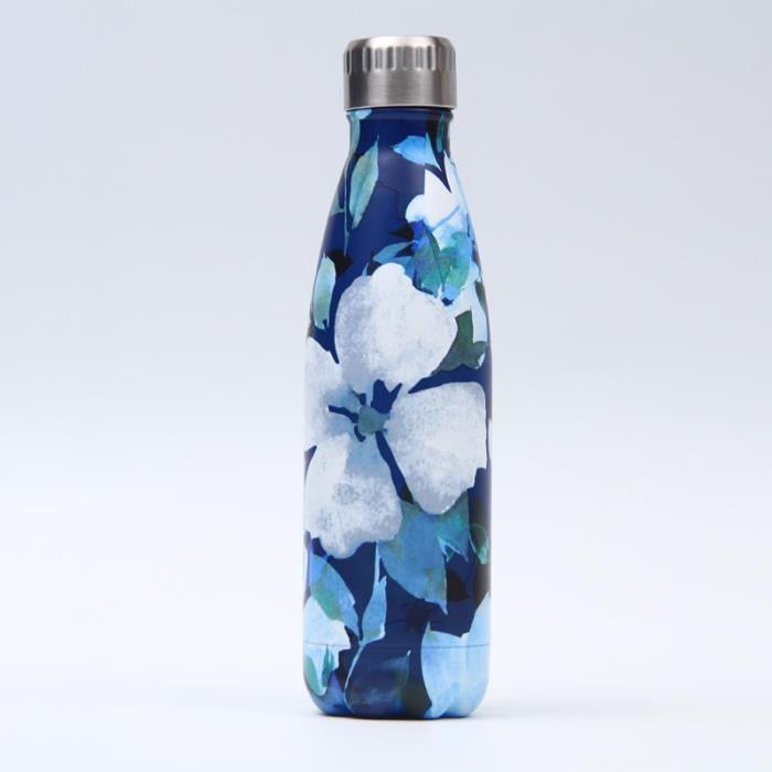 Bouteille d'eau en Acier Inoxydable Fleuri Imprimé Thermos 500ml Double Paroi Isolée sous Vide Gourde Isothermes - Style 148