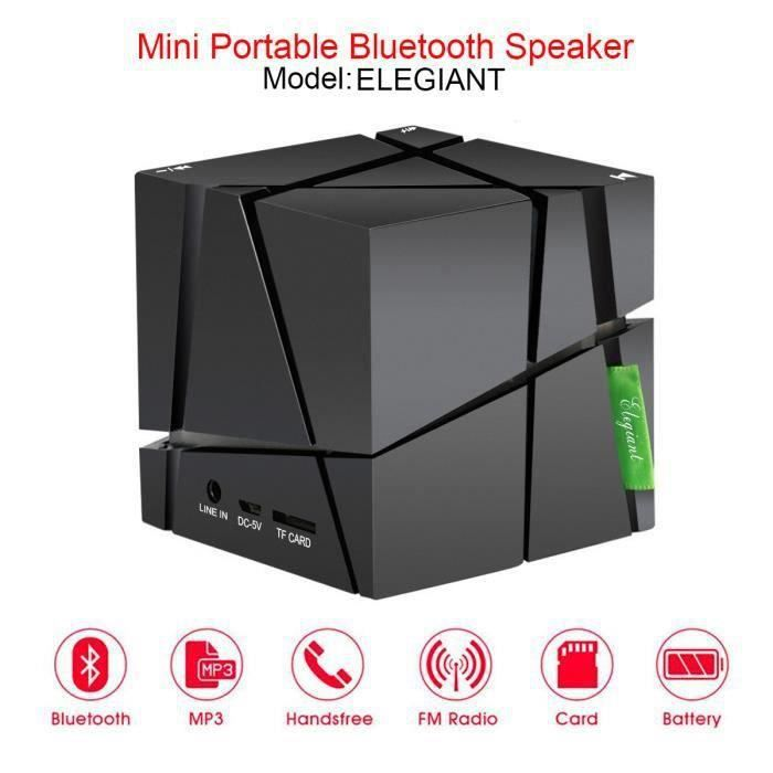 WF21297-LED Bluetooth Sans Fil Double Haut-parleur Enceintes Portable Pour Smartphone Tablet MP3 Noir