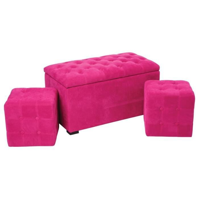 ensemble coffre banquette de rangement et 2 poufs carr s rose achat vente ensemble coffre. Black Bedroom Furniture Sets. Home Design Ideas