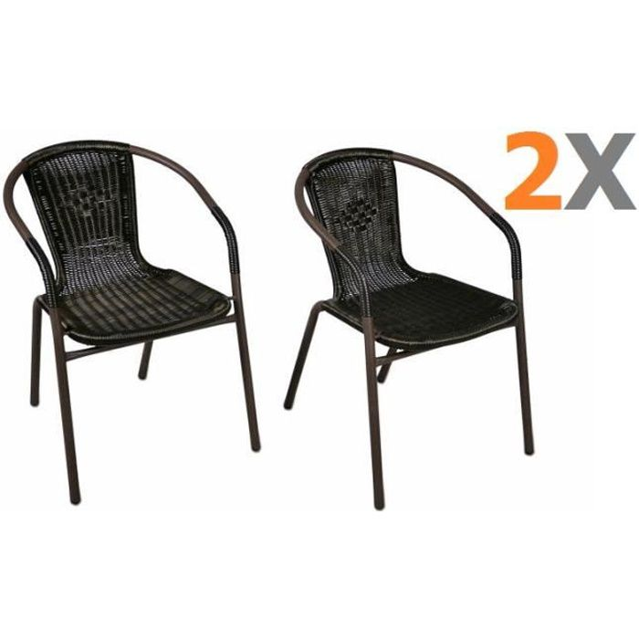 2 x chaises Bistro poly rotin empilable - Achat / Vente fauteuil ...