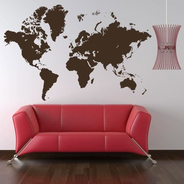 sticker carte du monde marron 78x120 achat vente stickers bois les soldes sur. Black Bedroom Furniture Sets. Home Design Ideas