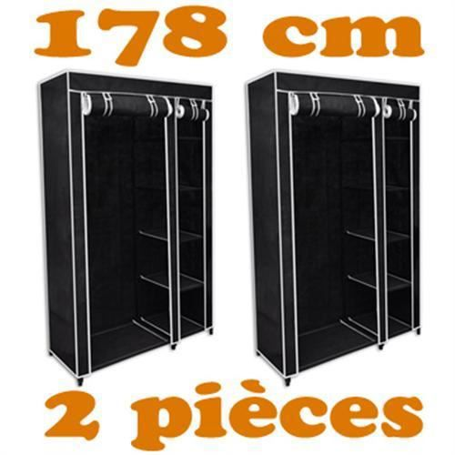 2 armoire penderie noires en toile achat vente armoire. Black Bedroom Furniture Sets. Home Design Ideas