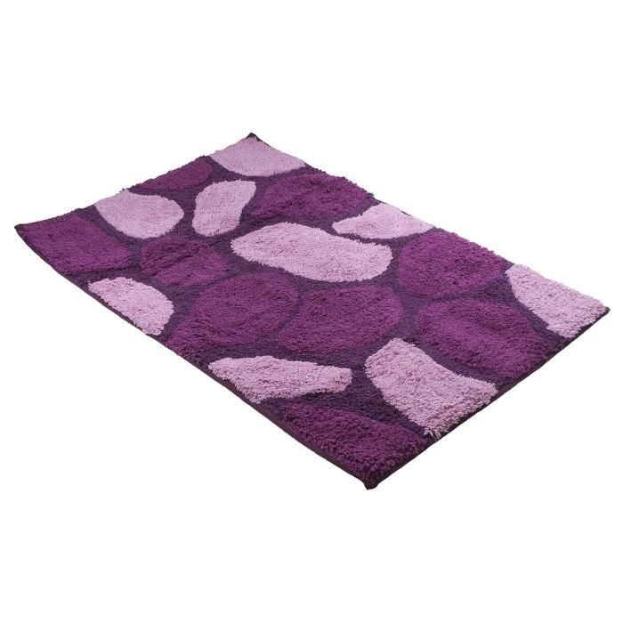 tapis de bains coton galets violet 50 x 80 cm achat vente tapis de bain. Black Bedroom Furniture Sets. Home Design Ideas