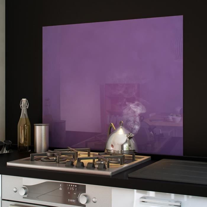 cr dence fond de hotte verre brillant violet 90 achat vente credence cr dence fond de. Black Bedroom Furniture Sets. Home Design Ideas