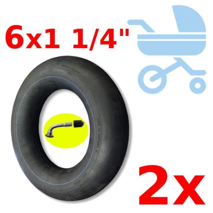 """2x CHAMBRE A AIR 8 x 1 1//4/"""" POUSSETTE TROTTINETTE  VÉLO ENFANT VALVE COUDÉE 45"""
