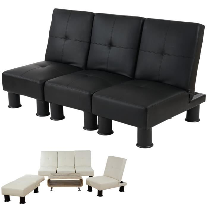 canap relax convertible lit d 39 amis lit d 39 appoint melbourne ii pu noir achat vente. Black Bedroom Furniture Sets. Home Design Ideas