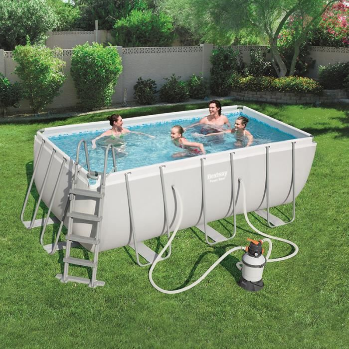charmant PISCINE BESTWAY piscine tubulaire rectangulaire 4.12x2.01x