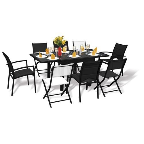table et chaises de jardin ensemble modulo 8 blatt achat vente salon de jardin table et. Black Bedroom Furniture Sets. Home Design Ideas