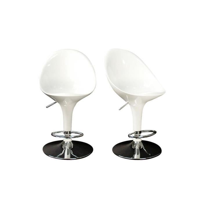 tabourets de bar blanc design uf lot de 2 achat vente tabouret de bar m tal cdiscount. Black Bedroom Furniture Sets. Home Design Ideas