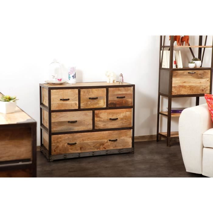 miliboo commode industrielle bois massif indu achat. Black Bedroom Furniture Sets. Home Design Ideas