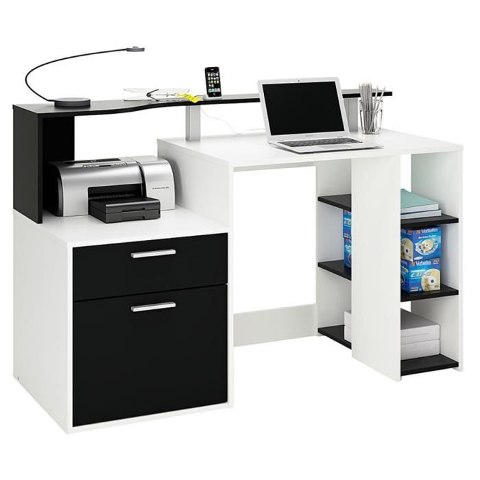 bureau blanc avec tiroir etageres achat vente bureau. Black Bedroom Furniture Sets. Home Design Ideas