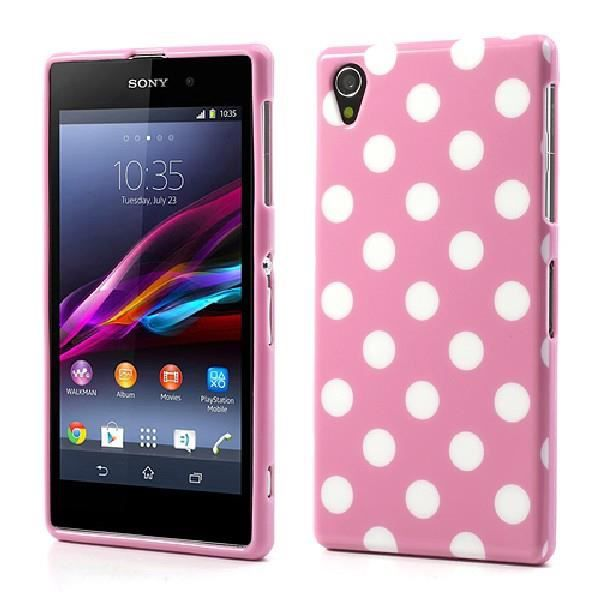 coque sony xperia z1 housse minigel rose pois ro achat vente coque sony. Black Bedroom Furniture Sets. Home Design Ideas