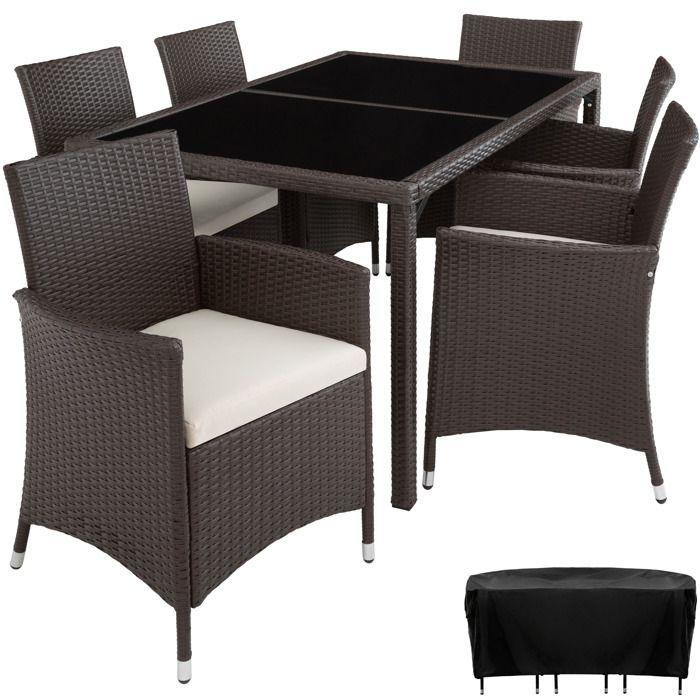 TECTAKE Salon de Jardin LISBONNE Résine Tressée 6 Chaises Fauteuils 1 Table  + 1 Housse Marron Foncé