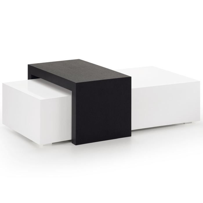 table basse moderne et design noir et blanche g achat. Black Bedroom Furniture Sets. Home Design Ideas