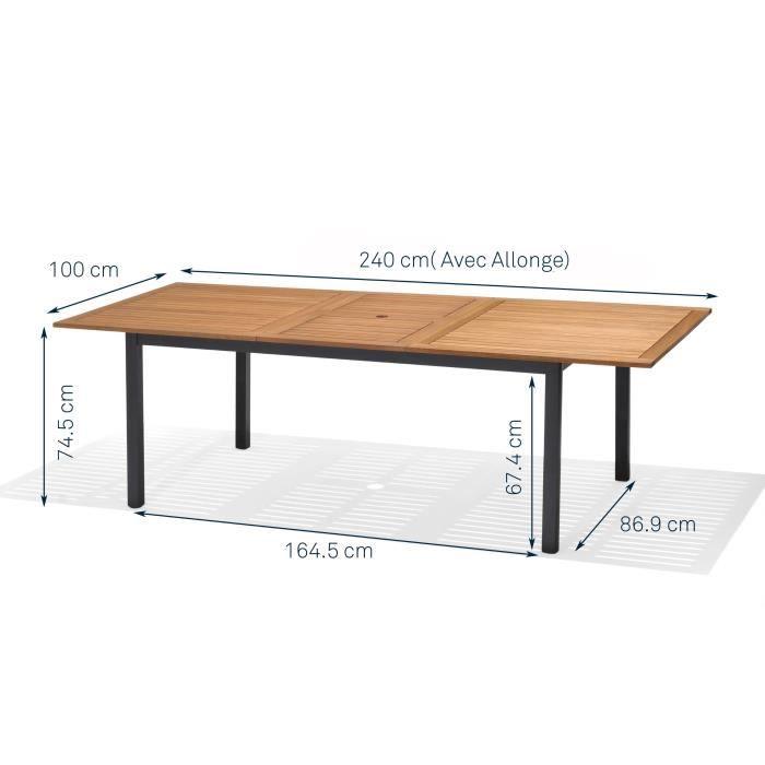 table jardin bois metal