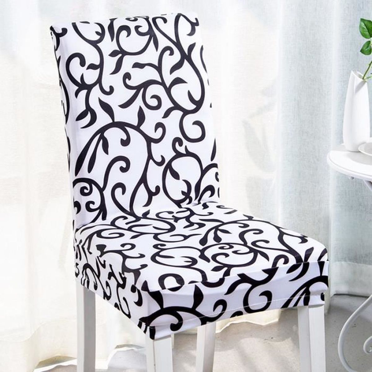 housses de chaises noir et blanc achat vente pas cher. Black Bedroom Furniture Sets. Home Design Ideas