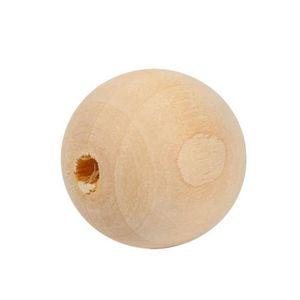 Perles 50pcs Perles rondes en bois naturelles non peintes