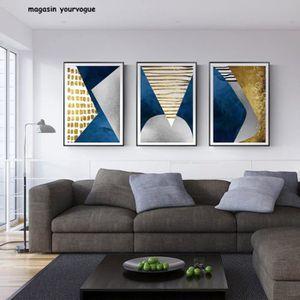 TABLEAU - TOILE Abstrait bleu or lune géométrie montagne toile aff