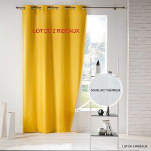 RIDEAU Lot de 2 rideaux thermique a oeillets 140 x 260 cm