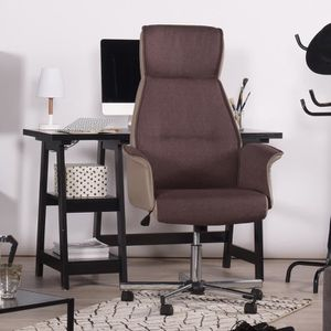 CHAISE DE BUREAU Homy Casa Chaise de bureau En Tissu Marron avec Ac