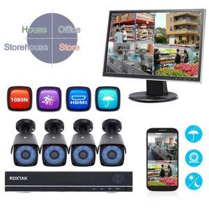 CAMÉRA DE SURVEILLANCE Système de surveillance HD 1080P moniteur DVR 4CH