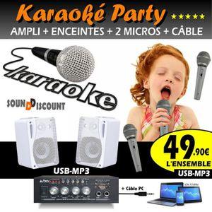 MICRO - KARAOKÉ KARAOKÉ PACK 2 ENCEINTES + AMPLI USB BLUETOOTH + 2