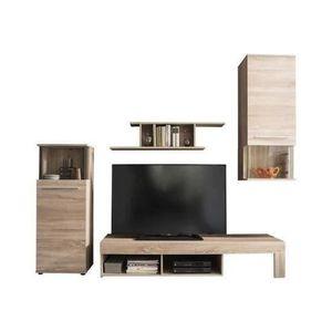 MEUBLE TV PUNCH Meuble TV avec LED - Décor chêne - L 228 cm