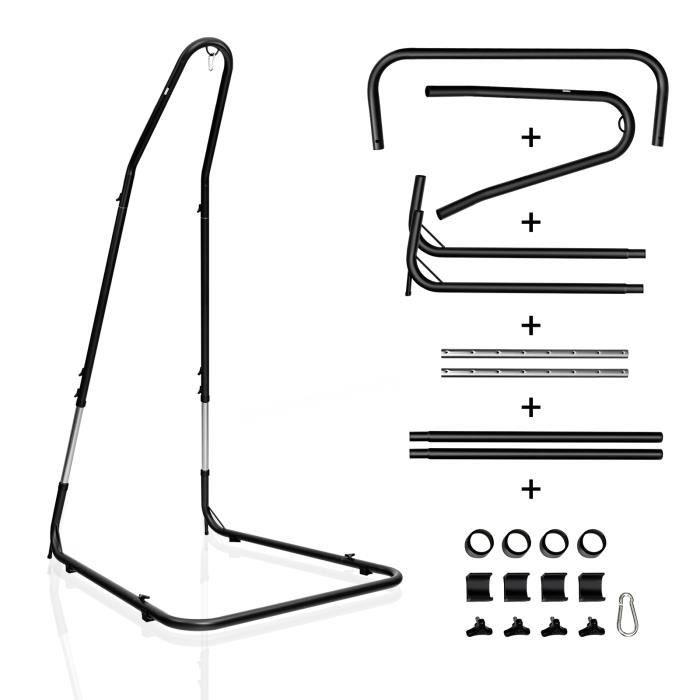 COSTWAY Support pour Fauteuil Suspendu Support de Hamac en Acier Charge Max. 150 KG Hauteur Réglable 200 - 250 CM Coloris Noir