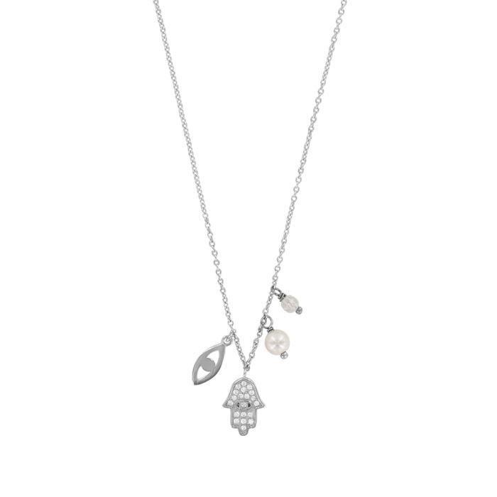 Jouailla - Collier argent 925-1000 rhodié et Oxydes de Zirconium, perle de nacre