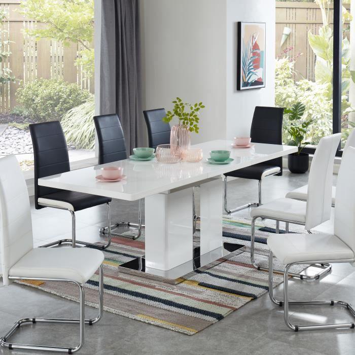 JADE Table à manger extensible - laqué blanc brillant - L160-220cm