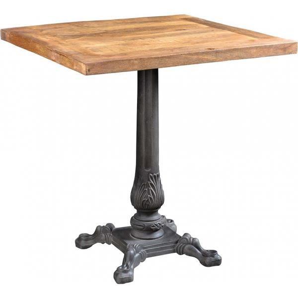 Table bistrot bois et fer forgé pieds fantaisies - 70 x 70 x 74 cm