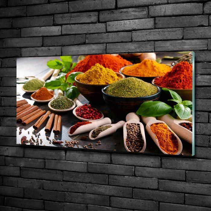 Tulup 100x50cm Tableau sur verre de sécurité:- Nourriture boissons - Épices Colorées - Multicolore Vert