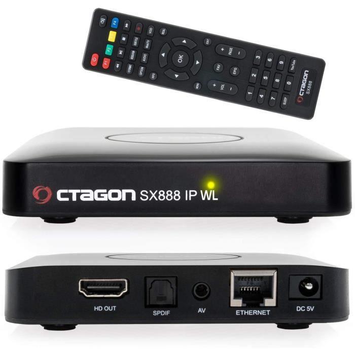 SX888 IP WL H265 Mini récepteur IPTV avec Stalker, m3u Playlist, VOD, Xtream, WebTV [USB, HDMI, LAN, Wi-Fi] Full HD