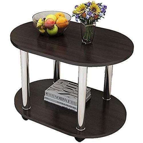 Table basse Tables d'appoint ovale Table basse Petit bois avec roulettes double couche Nightstand Armoire de rangement Living co483
