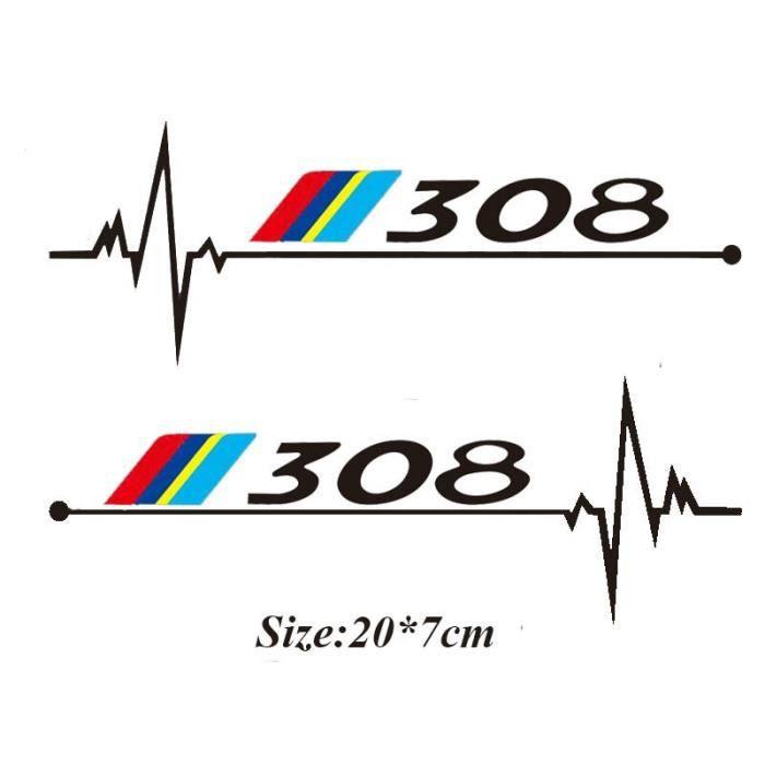 2 pcs-lot Voiture Fenêtres Autocollant Pour Peugeot 106 108 206 208 306 308 508 2008 3008 Accessoires~p308 black LX10669