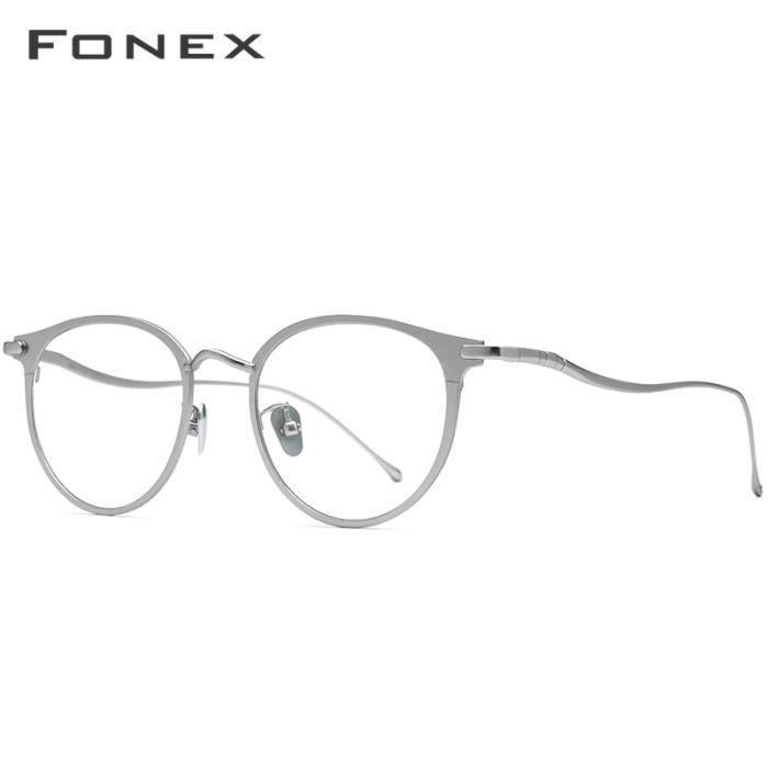 Montures de Lunettes de vue,FONEX lunettes yeux rondes rétro hommes En titane pur, montures de lunettes rétro - Type Argent