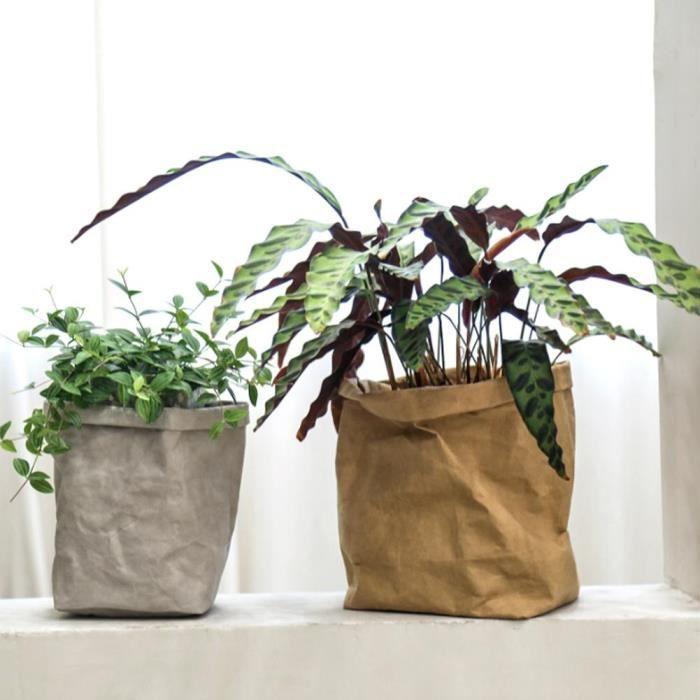 YOSOO sac recyclable Sac de rangement multifonctionnel Sac de papier brun recyclable épais lavable avec grande capacité (M)