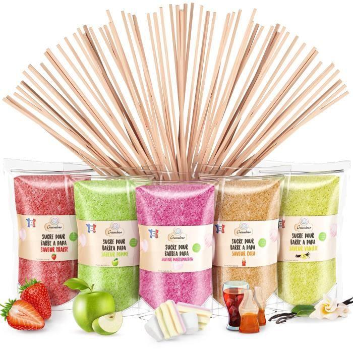 Sucre Barbe à Papa 5X160 Gr (Arômes et Colorants Naturels) Fraise-Cola-Pomme-Marshmallow-Vanille + 20 Bâtonnets de 28 Cm