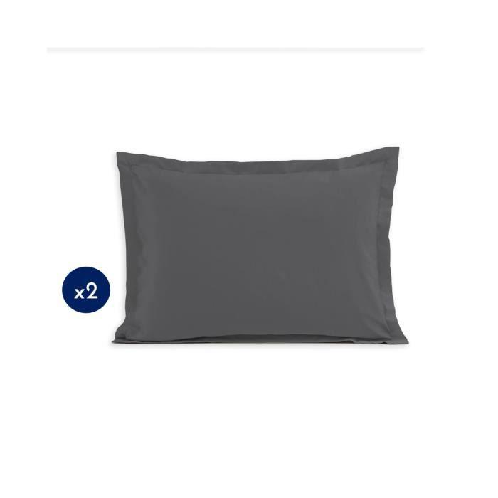 Lot de 2 Taies d'oreillers 100% Coton 50x70 cm gris foncé