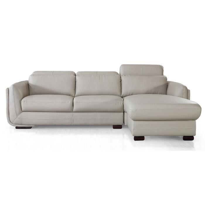 Canapé d'angle droit en cuir KENZO - Beige - Droit - Beige